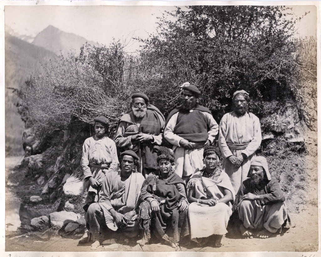 Group Photo of Native Indians, Kullu, Himachal Pradesh - c1870's
