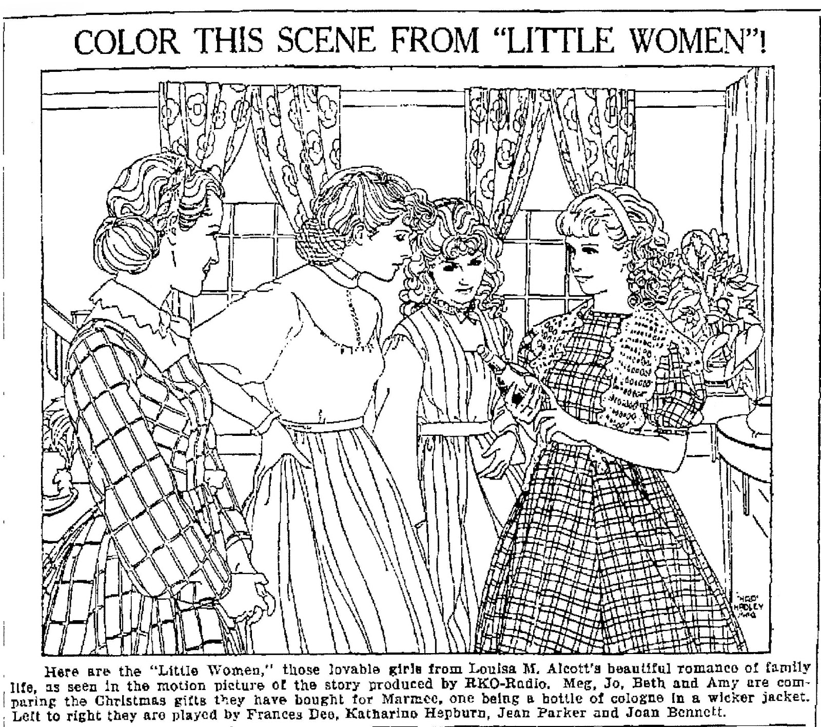 here are the little women those lovable girls from louisa m alcotts beautiful romance of family life as seen in the motion picture of the story