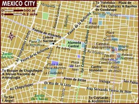 Simple map of Mexico City