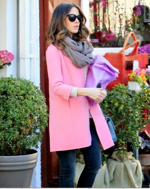 pink coat, gray scarf