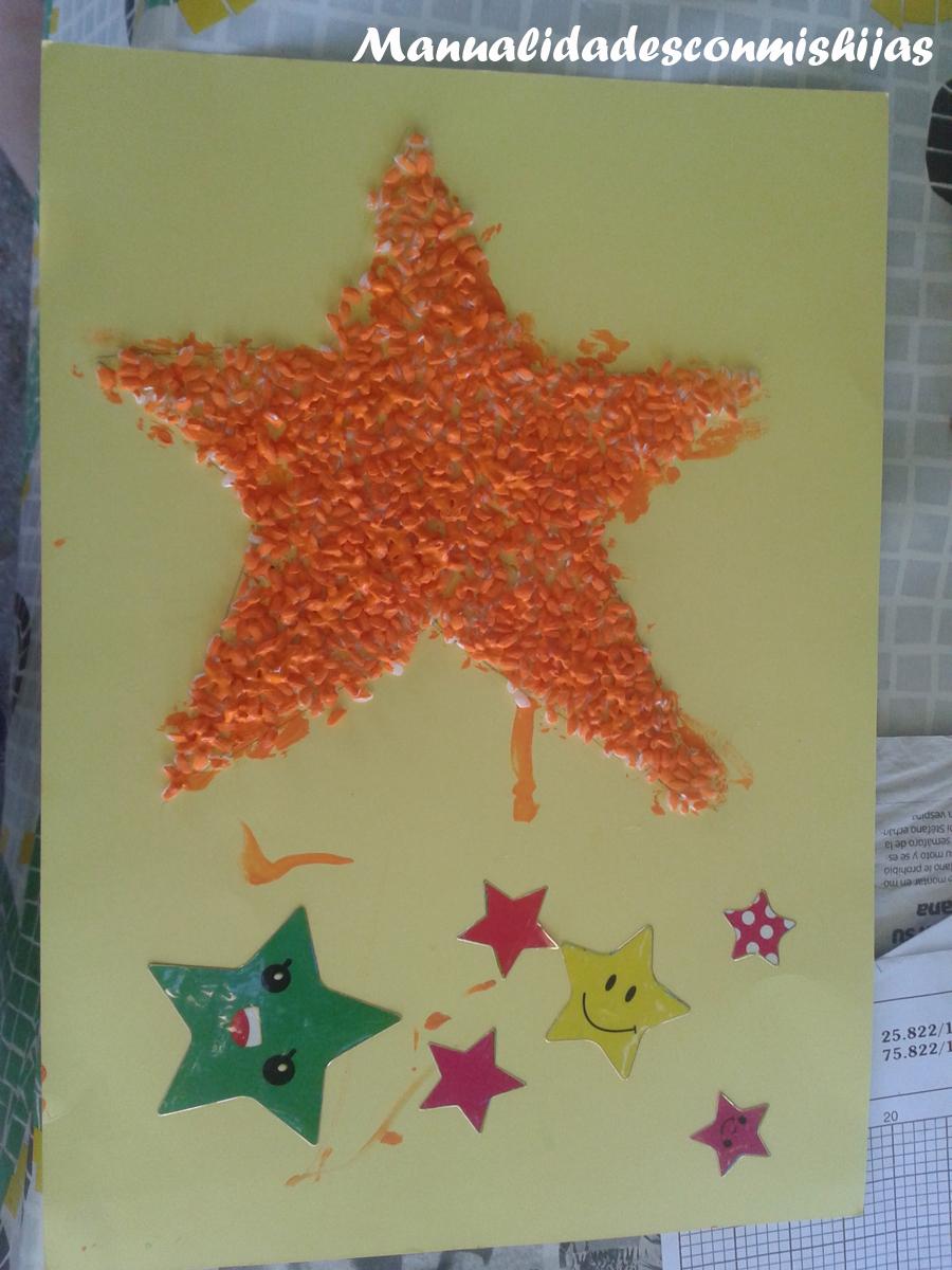 Manualidades con mis hijas Dibujos con arroz pintado Flor y