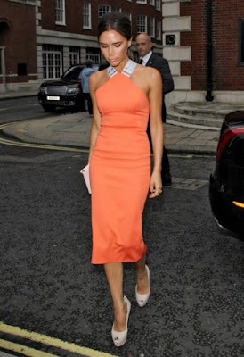 victoria beckham orange tangerine spring summer 2012 dress