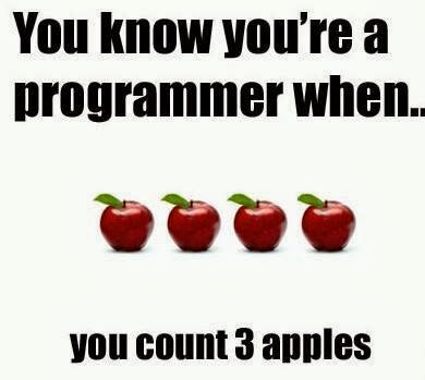You know you are a Programmer when you count 3 apples