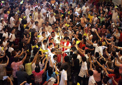 Saint Pedro Calungsod arrives at Our Lady of Guadalupe Church in Cebu City