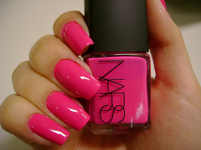 Easy Hot neon pink nails  Glitter STRIPED Nail Art Design