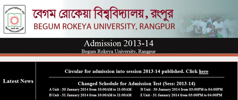BRUR,Admission Test,Result,2013-14