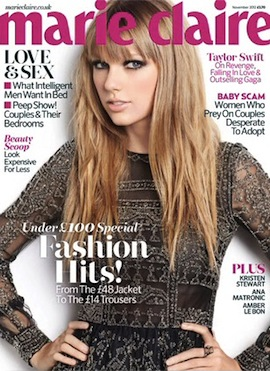 Taylor Swift Covers Marie Claire UK, November 2012