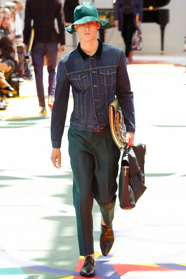 Burberry Prorsum Spring Summer 2015 denim jacket with velvet collar LCM
