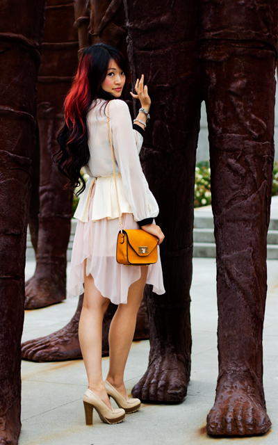 Style Stalker chiffon top with split sleeves and black cuff and collars, cameo chiffon peplem skirt, mia nude oxform platform chunky heel, Urban expression vegan crossbody purse, fashion, style, poser style, street style, girly fashion
