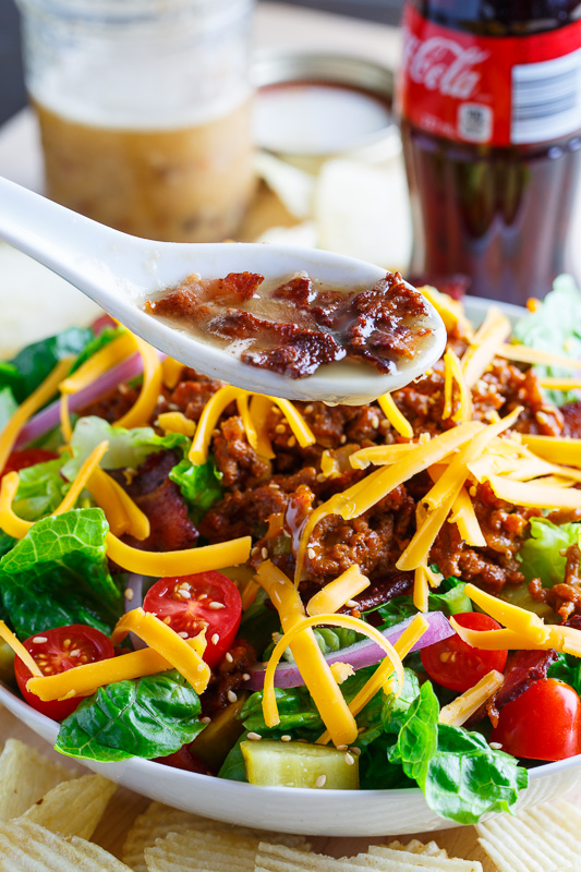 Bacon Double Cheese Burger Salad Recipe — Dishmaps