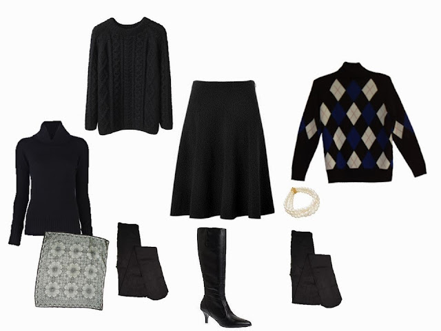 "a wardrobe ""Cluster"" built around a black velvet skirt, with two sweater options"