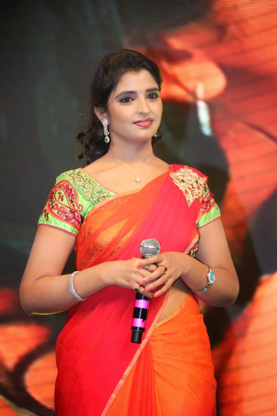 telugu anchor shyamala in orange saree at rough movie