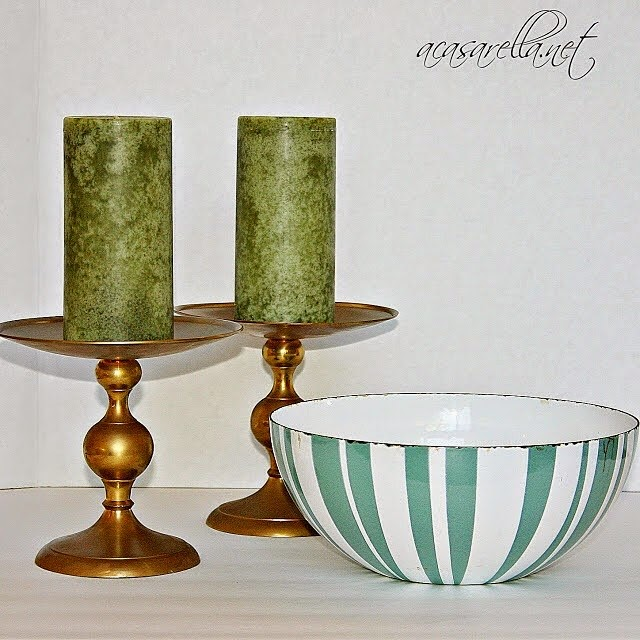 #thriftscorethursday Week 13 | Instagram user: a_casarella shows off this teal striped bowl and candle set