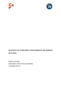 Acuerdo de Gobierno Ayuntamiento de Madrid 2019-2013 (PP/Cs)