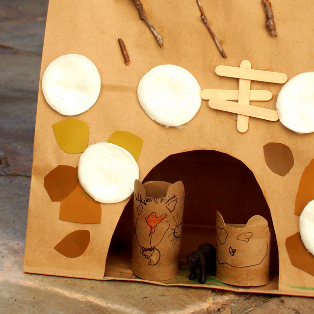 Kid Science:  Paper Bag and Toilet Roll Hibernating Bear Craft