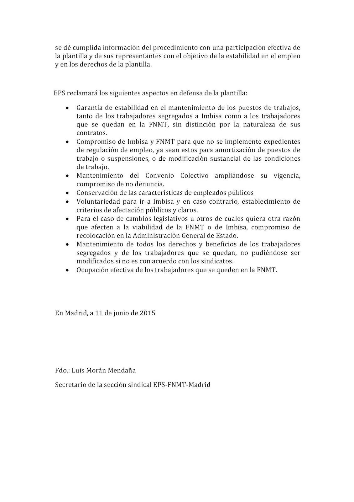 Espacio de Participación Sindical: Escrito de alegaciones sobre la ...