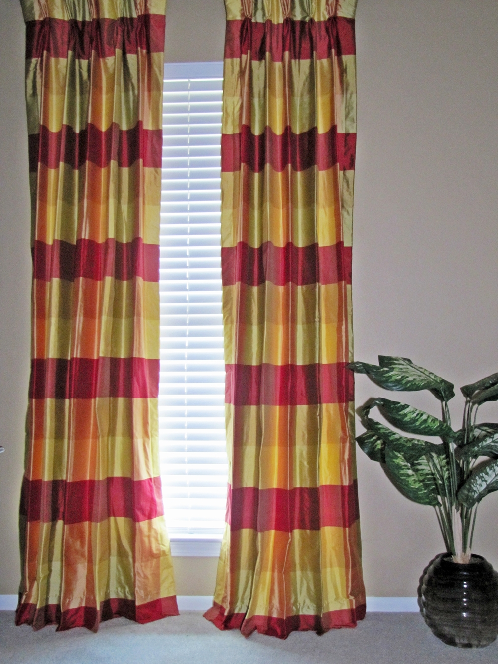 Red Striped Shower Curtain Brown Plaid Curtain Panels