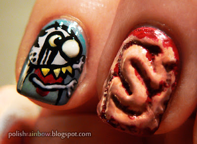 Halloween nail art challenge. Zombie nails. Brains.