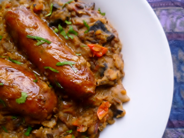 Marmaduke Scarlet: the peasant deep inside: sausage and lentil stew