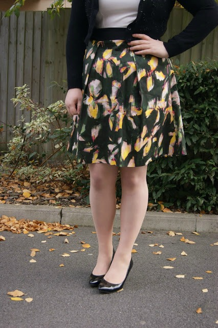 Closet floral fancy occasion dress from New Look, Precis Petit silk pink princess coat, New Look nude pink pointed heels, Clarks black patent pointed shoes, cropped wool cardigan, 1 dress styled 2 ways