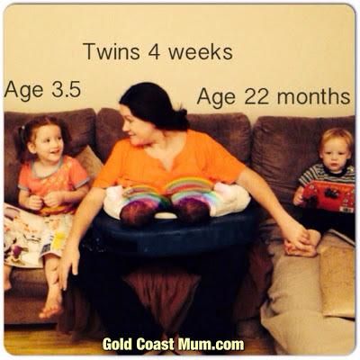 Gold Coast Mum breastfeeding twins, 4 under 4