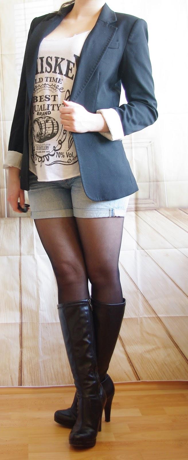 Outfit Oh my Whiskey Girl! - Denim Shorts, Whiskey Top & Blazer