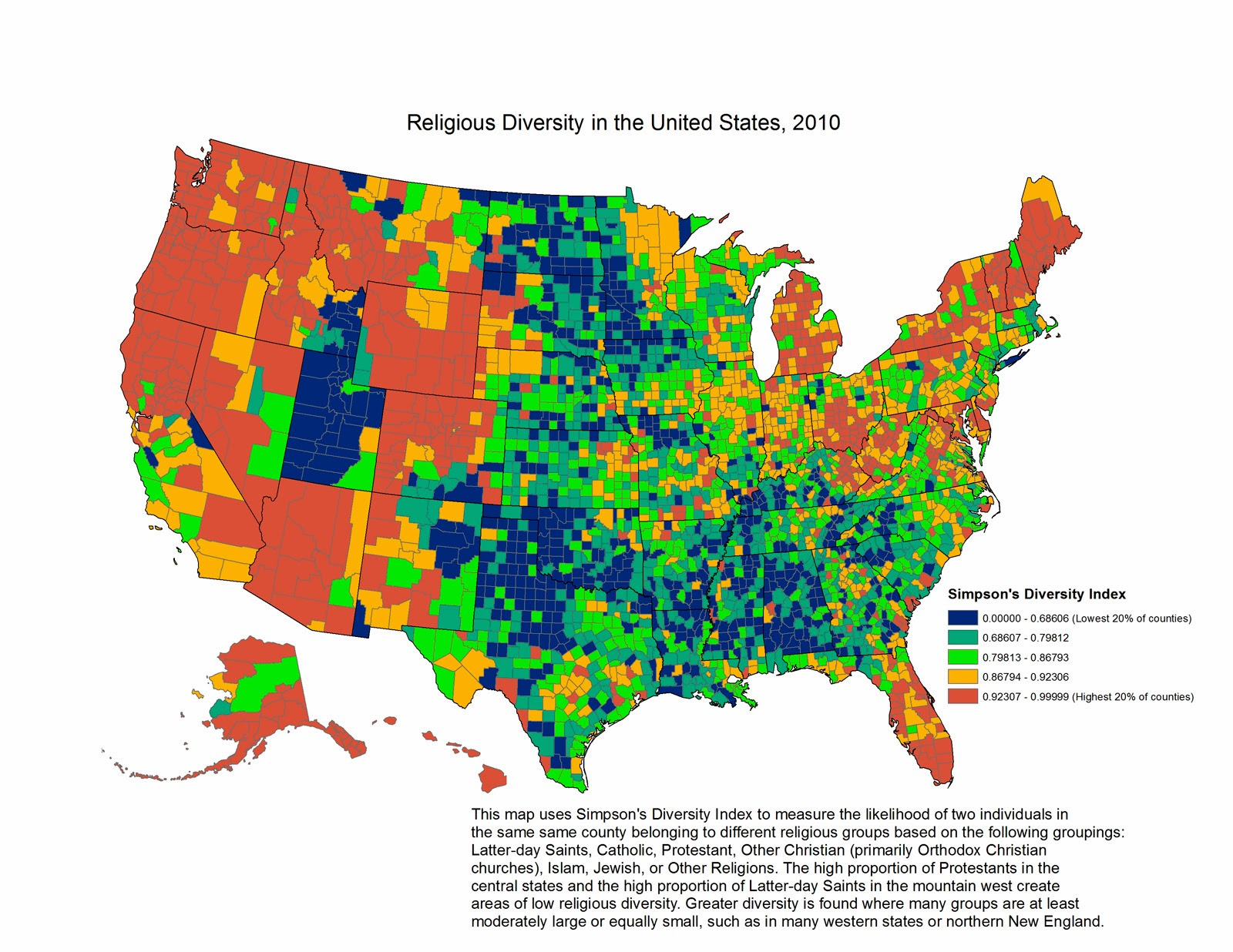 blue counties have little religious diversity red ones a great deal