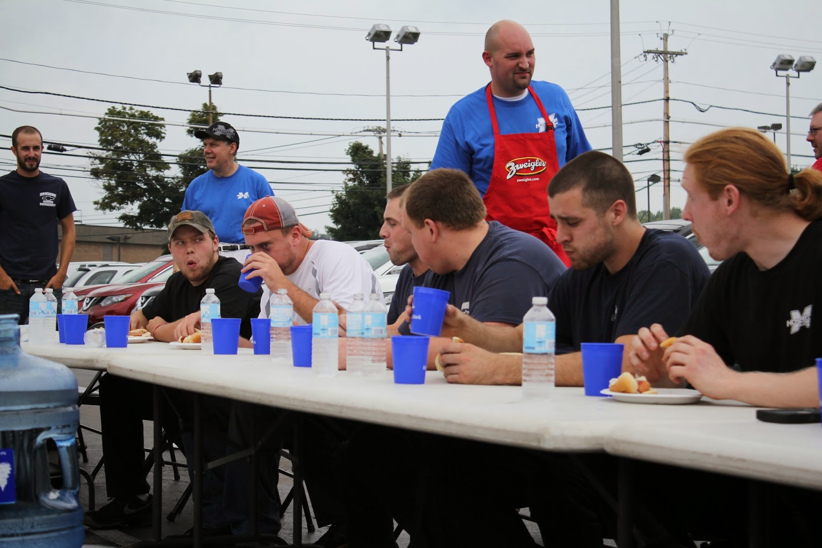 Rochester Hot Dog Eating Contest at Hoselton Auto Mall! Courtesy of Zwiegles