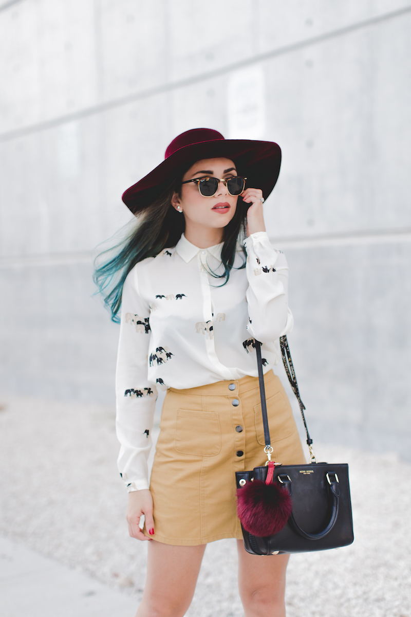 zara, elephant blouse, button down skirt, urban outfitters, henri bendel, velvet hat, free people, guess, ankle booties, fur keychain , miami, miami fashion, blue hair, ray ban sunglasses,