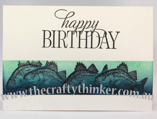 SU, fish, single layer card, hand made birthday card, www.thecraftythinker.com