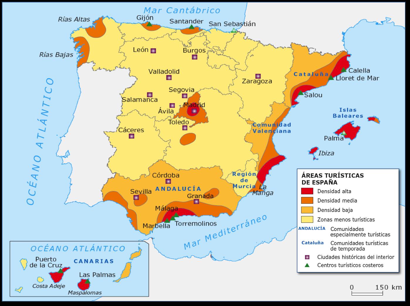 Geograf a ies nervi n tema 17 sector terciario turismo for Ciudades mas turisticas de espana