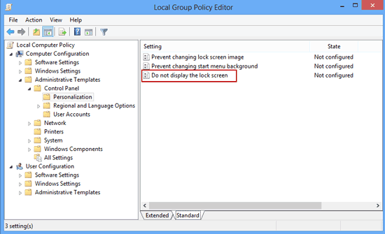disable windows 8 lock screen settings