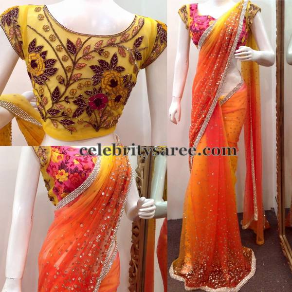 Orange Yellow Glitter Saree