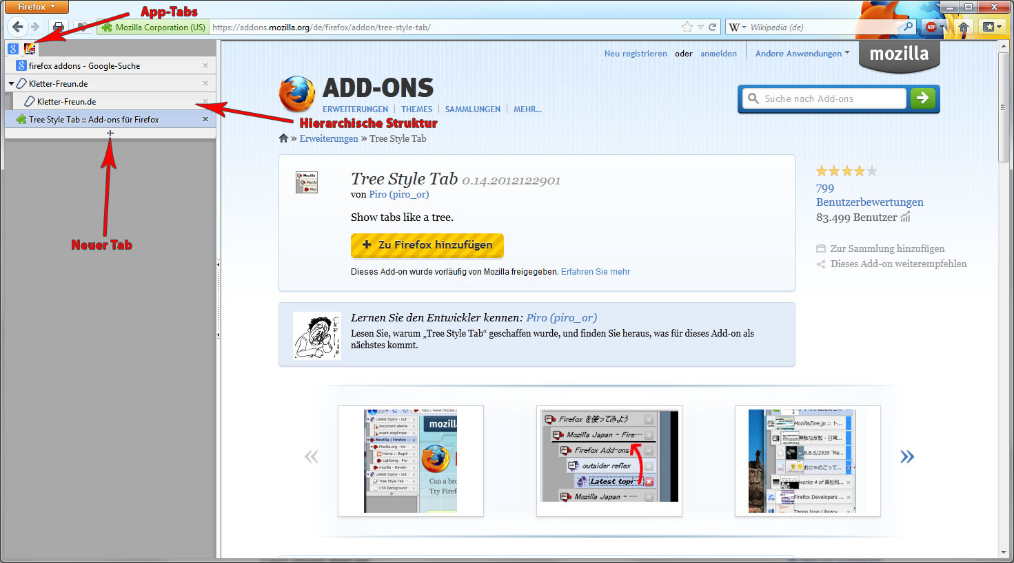 Firefox Add-on Tree Style Tab
