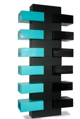 black shoe tree with 12 boxes, 6 turquoise and 6 black