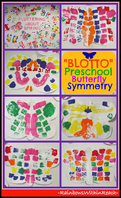 "photo of: Preschool Bulletin Board of Symmetric ""Blotto"" Butterflies - Spring Colors"