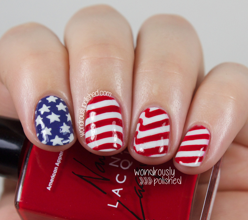 American Flag inspired Nail Art - Wondrously Polished: Happy Fourth Of July! - American Flag