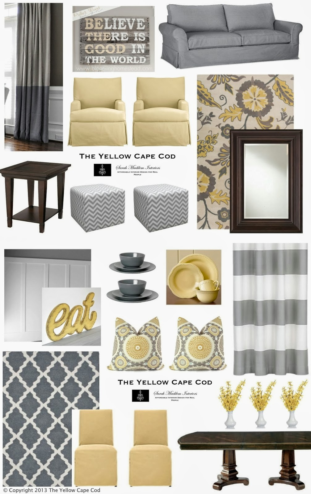 The yellow cape cod custom designs for Grey yellow dining room ideas