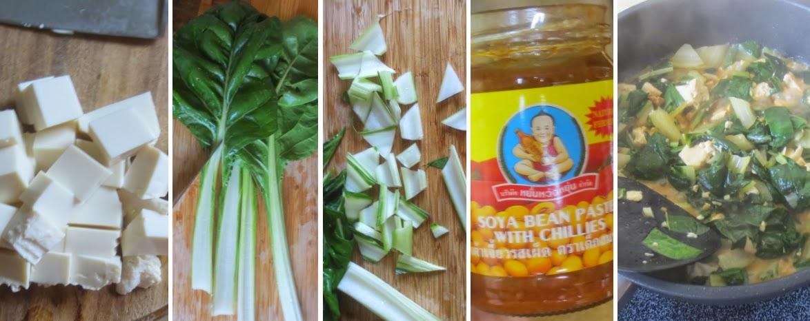 Zubereitung Mangold-Tofu-Pfanne