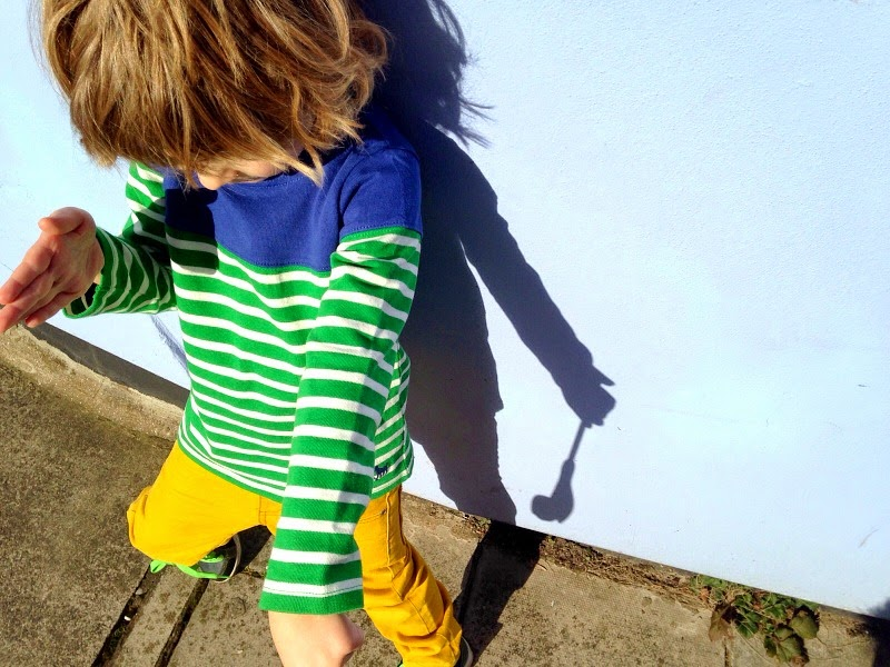 Mini Boden Green stripes and yellow jeans kids style
