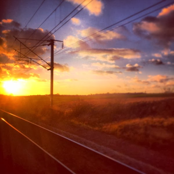 Sunset on the Eurostar to Paris