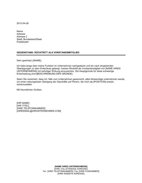 R 252 Cktrittsschreiben Vorlage Dokument Blogs