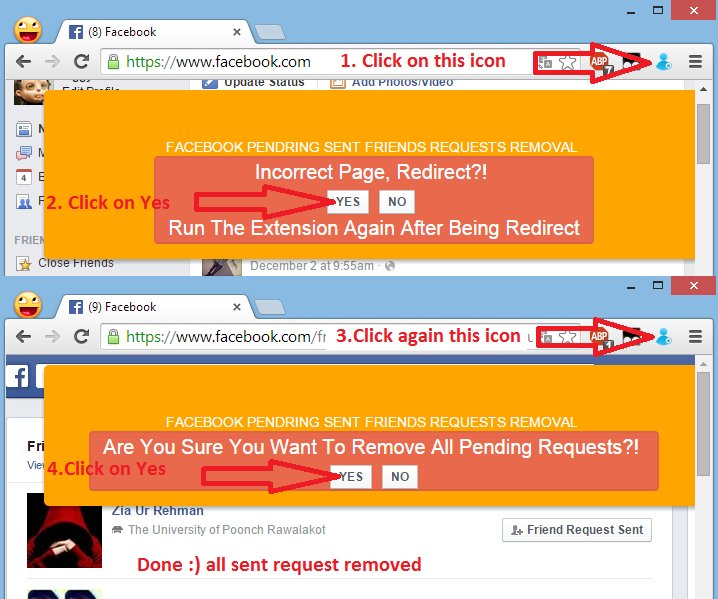 Cancel All Sent Friend Requests on Facebook on one click Google Chrome Extention