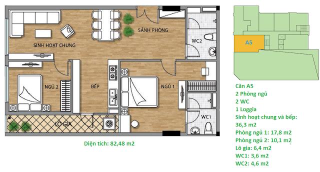 Căn hộ A5 diện tích 82,48 m2 tầng 2 Valencia Garden