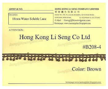 Water Soluble Lace Trimming Manufacturer - Hong Kong Li Seng Co Ltd
