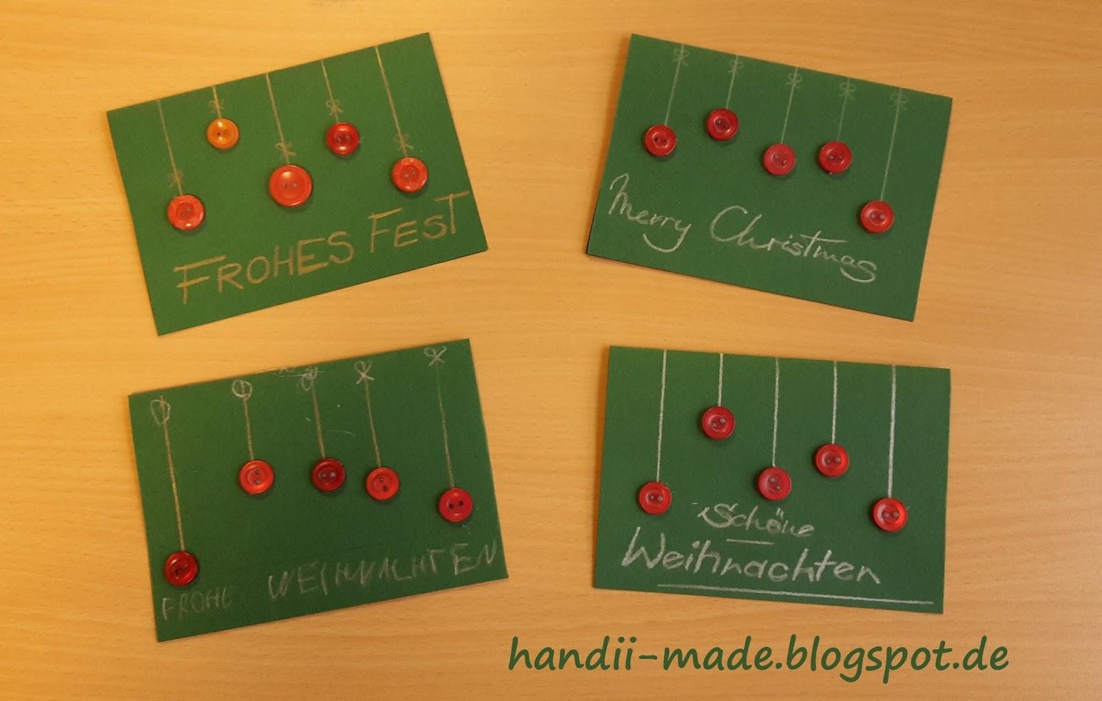Handii made weihnachtskarten mit kn pfen for Weihnachtskarten basteln kinder