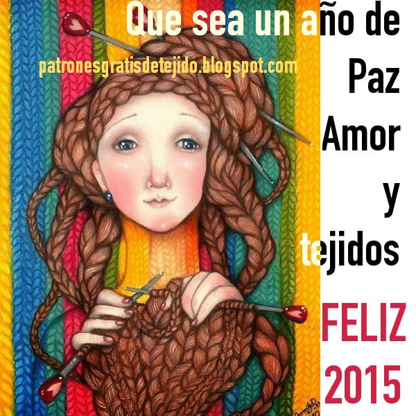 Postal de feliz año nuevo 2015 para compartir con tejedoras