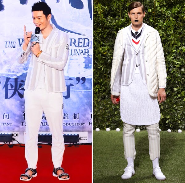 Huang Xiaoming in Moncler Gamme Bleu jacket and Givenchy chain sandals at The White Haired Witch Of Lunar Kingdom Beijing press conference July 2014 黄晓明 [白发魔女传之明月天国] 7月2日举行发布会