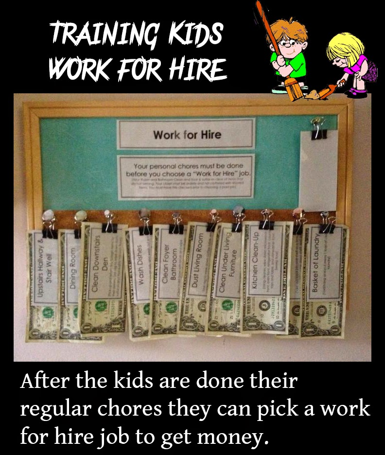 After the kids are done their regular chores they can pick a work for hire job to get money.