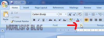 Klik Tanda Panahnya Untuk Mengatur Font